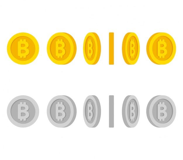 Conjunto de monedas de dibujos animados en diferentes posiciones