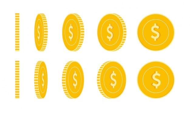 Conjunto de monedas de dólar americano, animación lista. rotación de monedas amarillas usd. usa metal money