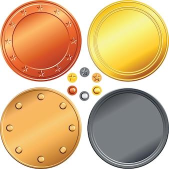 Conjunto de monedas de oro, plata, bronce.