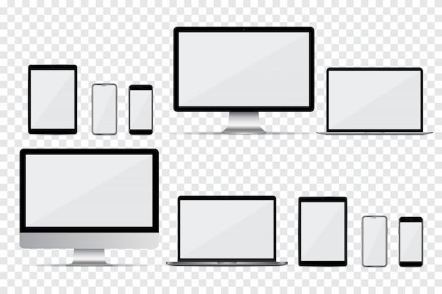 Conjunto de monitor de computadora, computadora portátil, teléfono inteligente y tableta con pantalla vacía