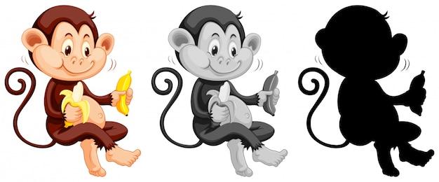 Conjunto de mono comiendo plátano