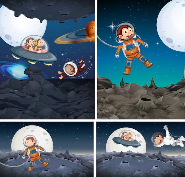Conjunto de mono explorando el espacio