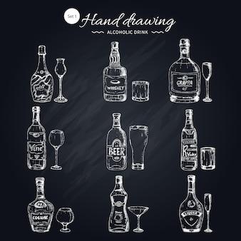 Conjunto monocromo de bebidas alcohólicas