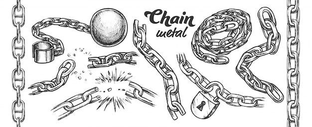 Conjunto monocromo de colección de cadena de hierro