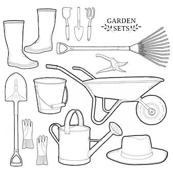 Conjunto monocromo de herramientas de jardín.