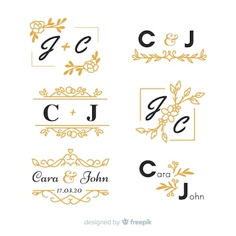 Conjunto de monograma de boda ornamental hermoso