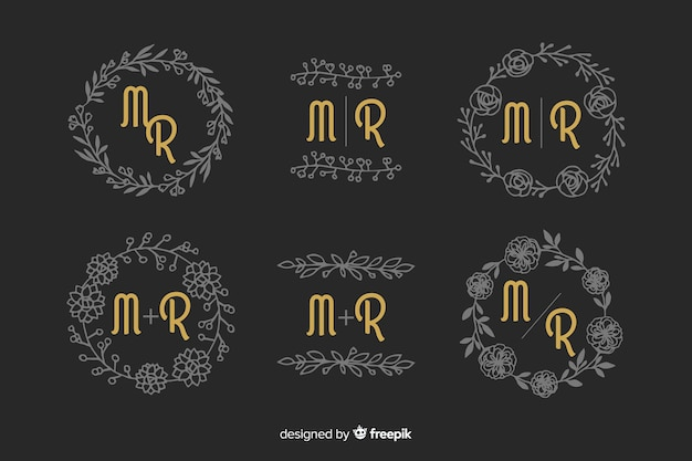 Conjunto de monograma de boda ornamental