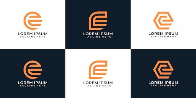 Conjunto de monograma creativo geométrico letra e diseños de logotipo inspiración