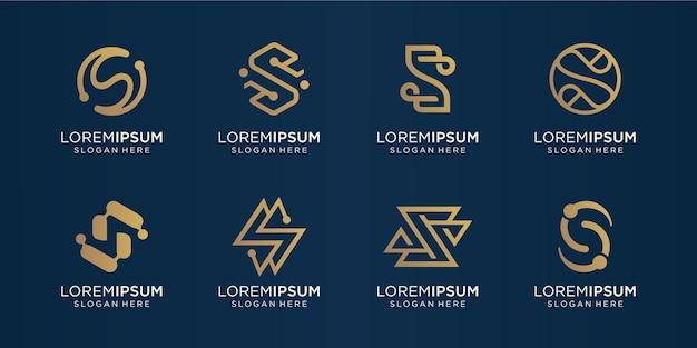Conjunto de monograma creativo letra s oro. plantilla de logotipo iconos para negocios, lujo, tecnología, inspiración