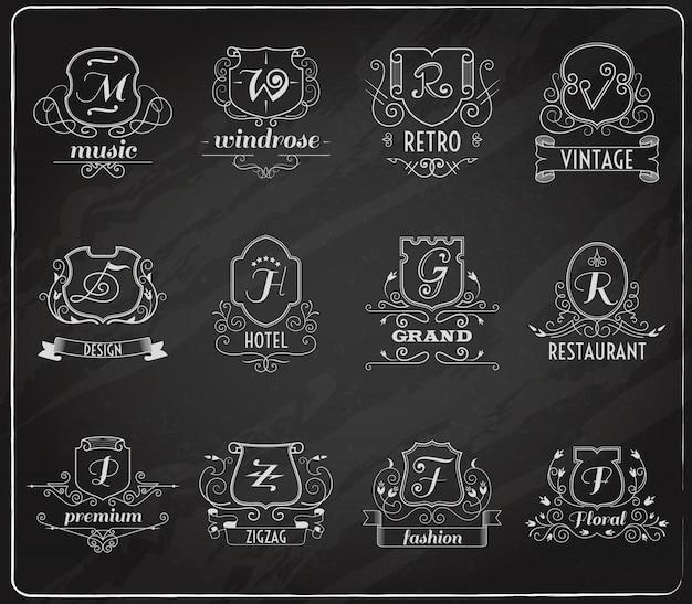 Conjunto monograma escudos pizarra