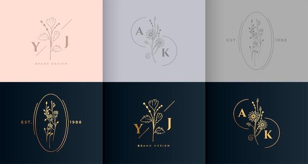 Conjunto de monograma de logotipo floral de flor mínima