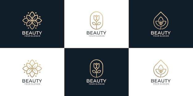 Conjunto de monograma minimalista belleza flor hoja logo naturaleza spa salón de yoga