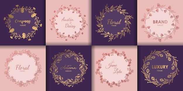 Conjunto de monogramas de boda y borde floral