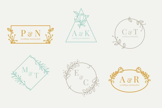 Conjunto de monogramas de boda en colores pastel minimalistas.