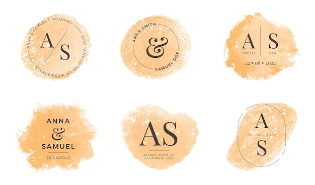 Conjunto de monogramas de boda dorada de acuarela