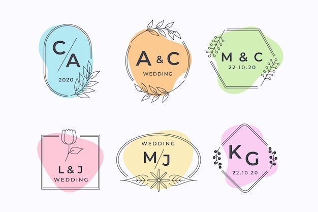 Conjunto de monogramas de boda elegante