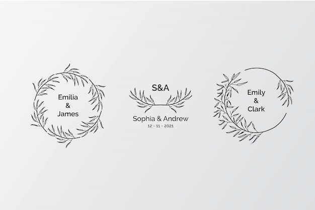 Conjunto de monogramas de boda elegantes, creador de logotipo inicial