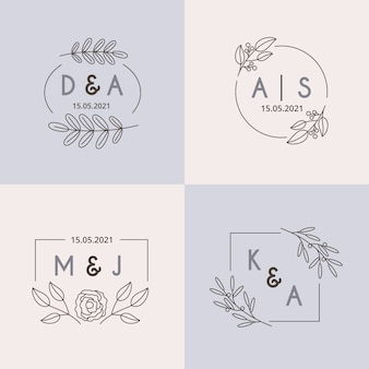 Conjunto de monogramas de boda minimalista en colores pastel