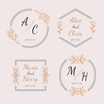 Conjunto de monogramas de boda planos lineales.