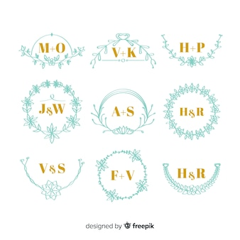Conjunto de monogramas elegantes de boda