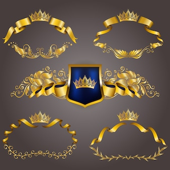 Conjunto de monogramas vip oro para diseño gráfico. elegante marco elegante, cinta, borde de filigrana, corona en estilo vintage