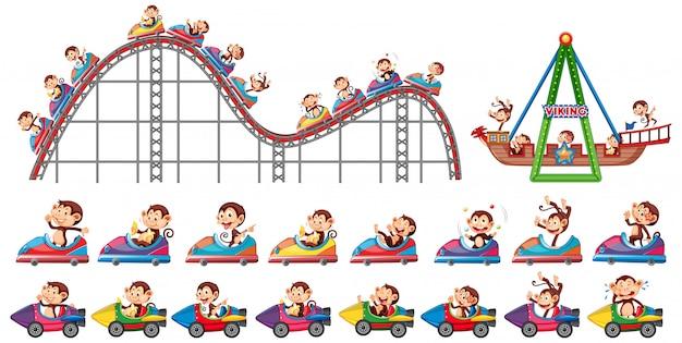 Conjunto de monos montando en diferentes atracciones en el circo