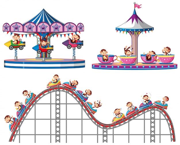 Conjunto de monos montando en paseos en circo sobre fondo blanco.