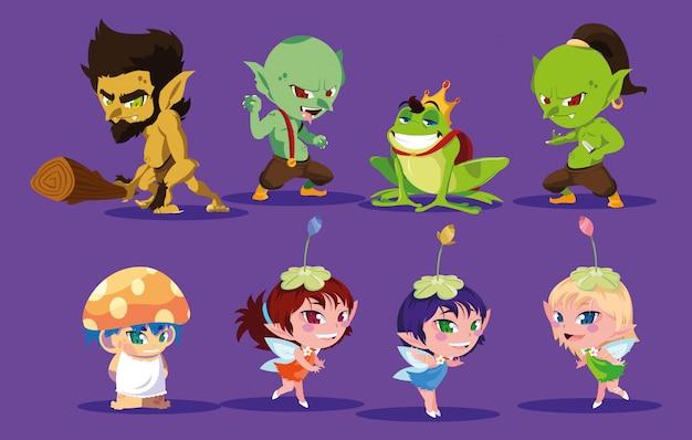 Conjunto de monstruos alienígenas coloridos