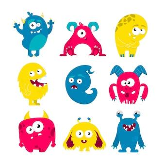 Conjunto de monstruos. colección de criatura linda y colorida brillante
