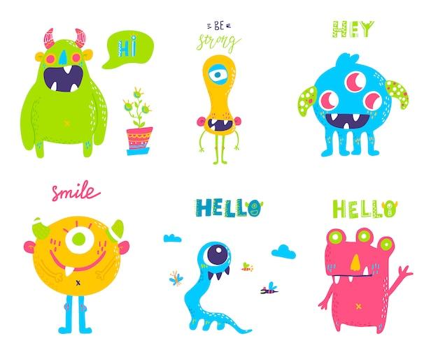 Conjunto de monstruos de dibujos animados lindo