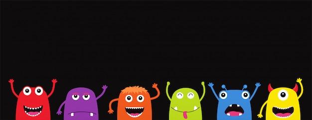 Conjunto de monstruos divertidos dibujos animados. personajes de halloween en negro
