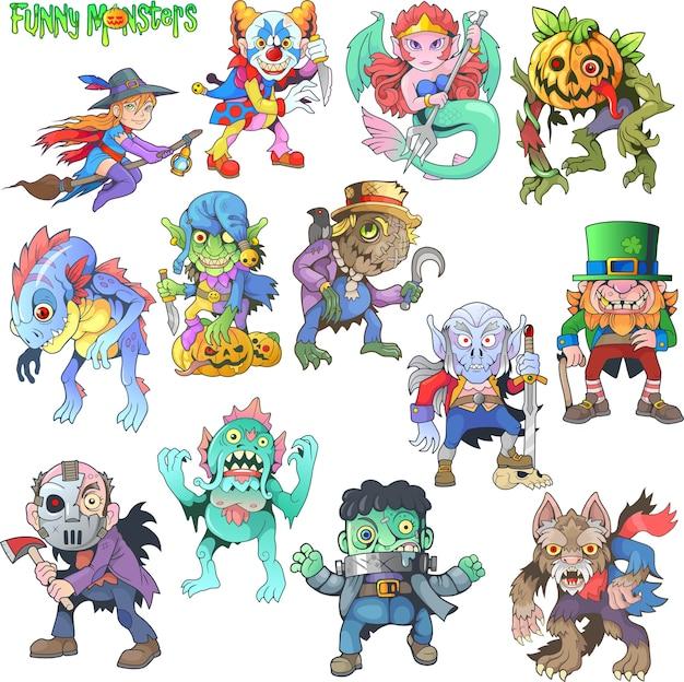 Conjunto de monstruos divertidos