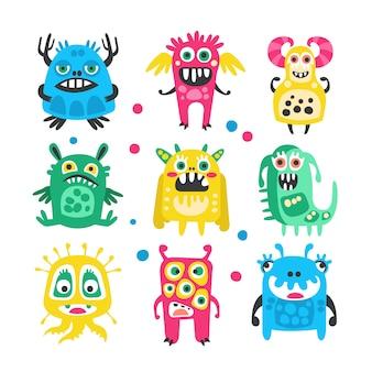 Conjunto de monstruos, extraterrestres y bacterias divertidos dibujos animados lindo.