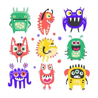 Conjunto de monstruos y extraterrestres divertidos dibujos animados amigable.
