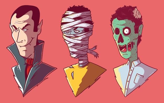 Conjunto de monstruos. fiesta, marca, películas, terror, concepto de diseño de halloween