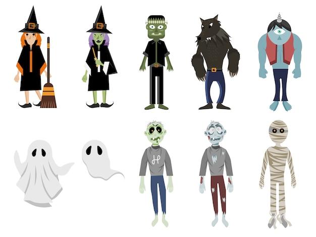 Conjunto de monstruos de halloween