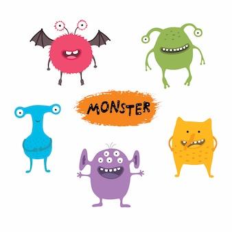 Conjunto de monstruos lindos dibujos animados diferentes