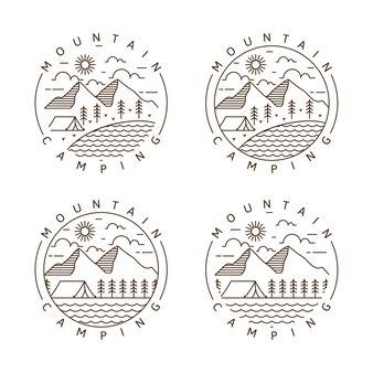 Conjunto de montaña y camping monoline o ilustración de vector de estilo de arte lineal