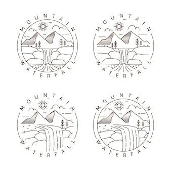 Conjunto de montaña y cascada al aire libre monoline o ilustración de vector de estilo de arte lineal