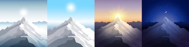 Conjunto de montaña de naturaleza.
