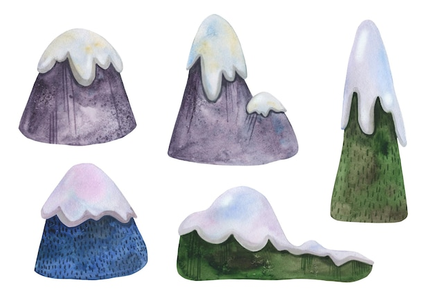 Conjunto de montañas de invierno acuarelas dibujadas a mano con gorros de nieve para esquiar.