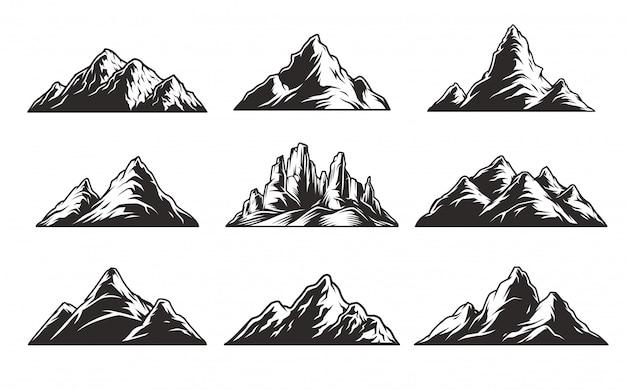 Conjunto de montañas monocromáticas vintage