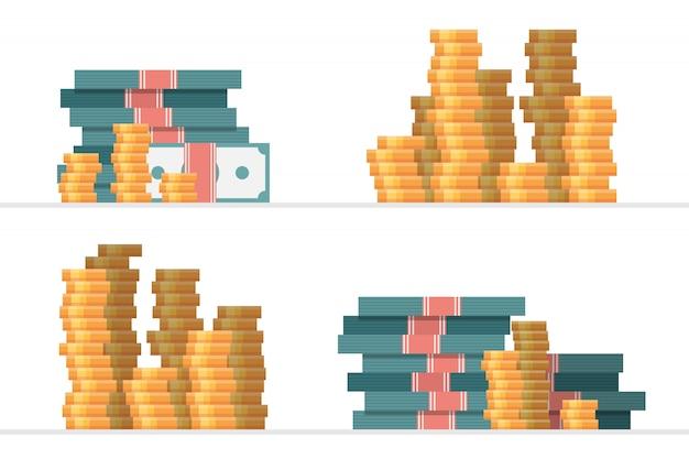 Conjunto de montones de ilustración de vector de dinero