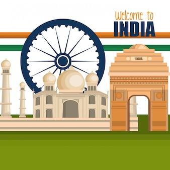 Conjunto monumentos india diseño