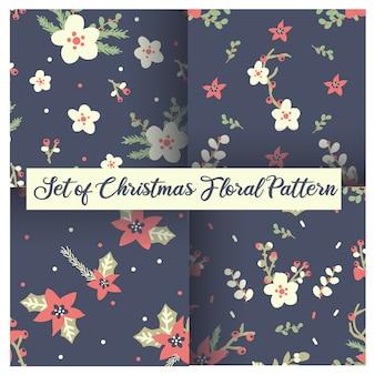 Conjunto de motivos florales navideños