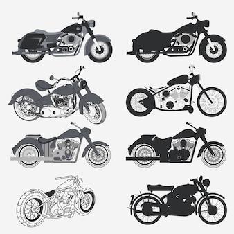Conjunto de motos, colección de silueta de motos chopper. concepto de moto personalizado.