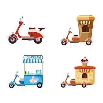 Conjunto de motos. conjunto de dibujos animados de moto