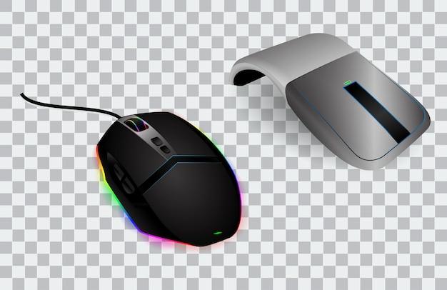 Conjunto de mouse de computadora realista o mouse con tecnología óptica de desplazamiento y clic o dispositivo de mouse