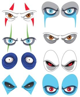 Conjunto de muchos ojos de payaso espeluznantes.