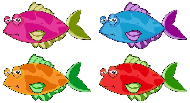 Conjunto de muchos personajes de dibujos animados divertidos peces aislado sobre fondo blanco.